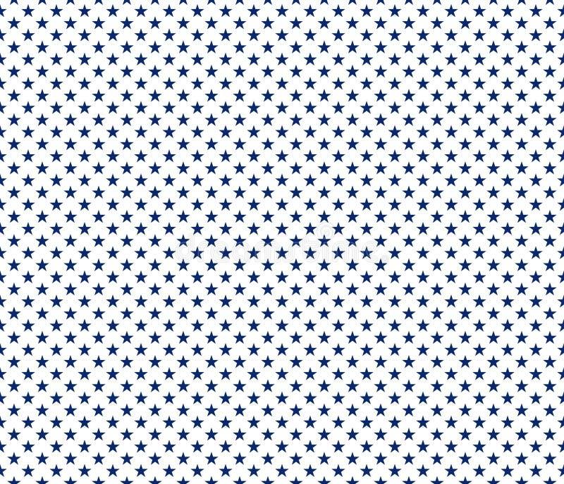 American patriotic seamless pattern blue stars on white background. Vector illustration stock illustration