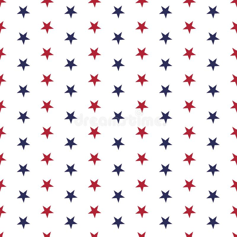 American patriotic seamless pattern with stars in traditional red, blue and white colors. USA Independence Day 4th July celebration concept vector illustration