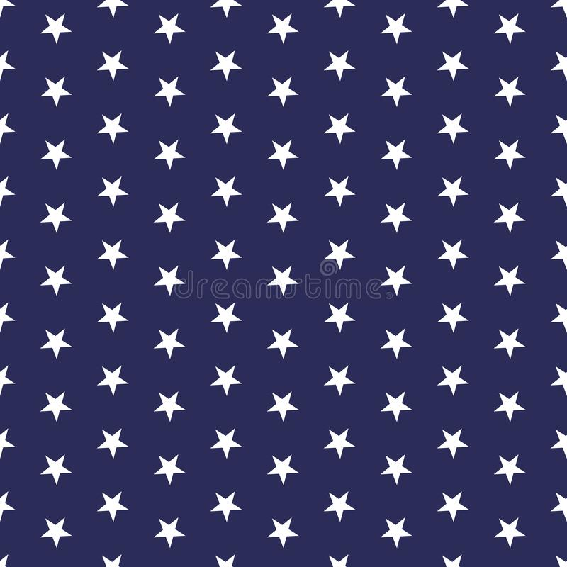 American patriotic seamless pattern with white stars on a blue background. USA Independence Day 4th July celebration concept royalty free illustration