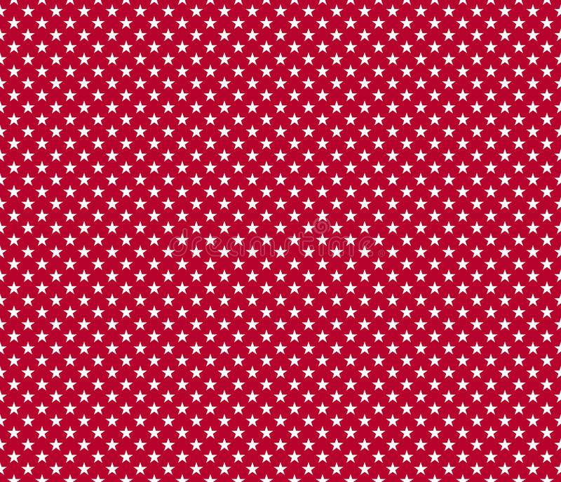 American patriotic seamless pattern white stars on red background stock illustration