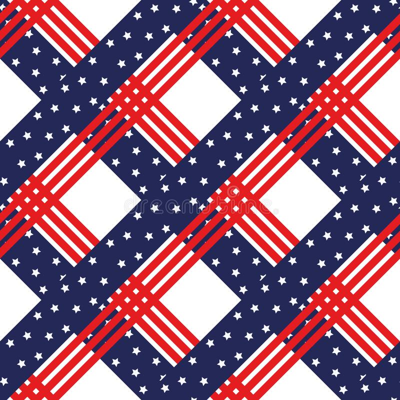 American patriotic stars and stripes seamless pattern in bright red, blue and white. Independence day vector background. Eps10 vector illustration