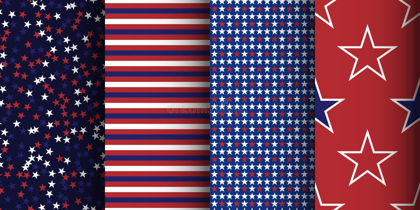 American patriotic striped and starry seamless patterns set. Fabric, wrapping and apparel background stock illustration