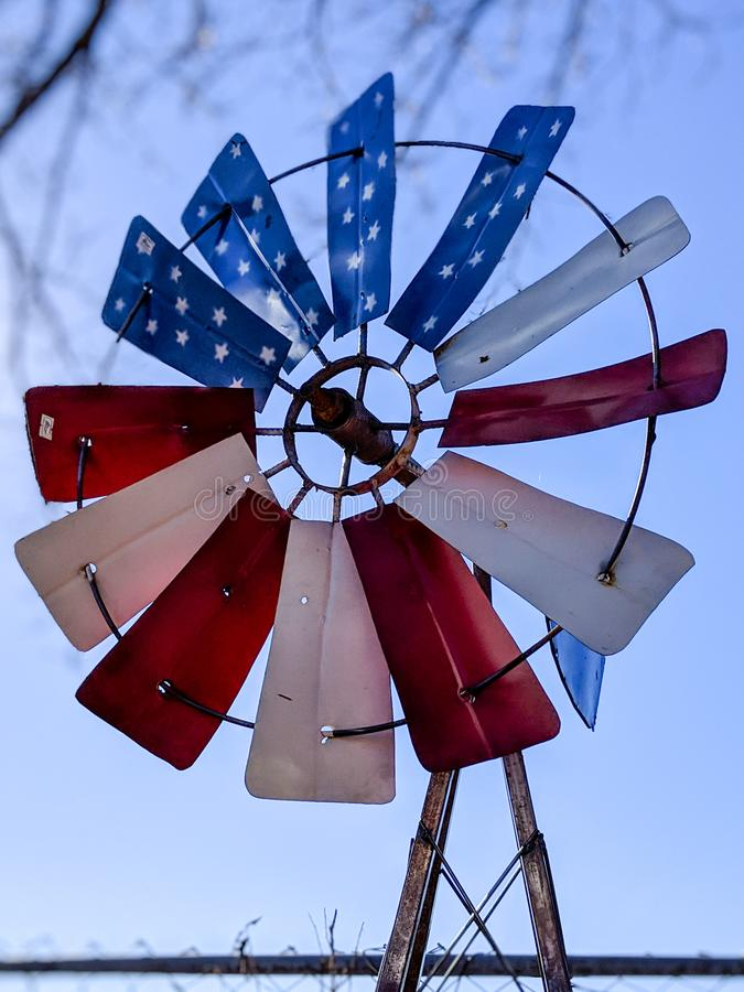 American patriotic windmill. stock images