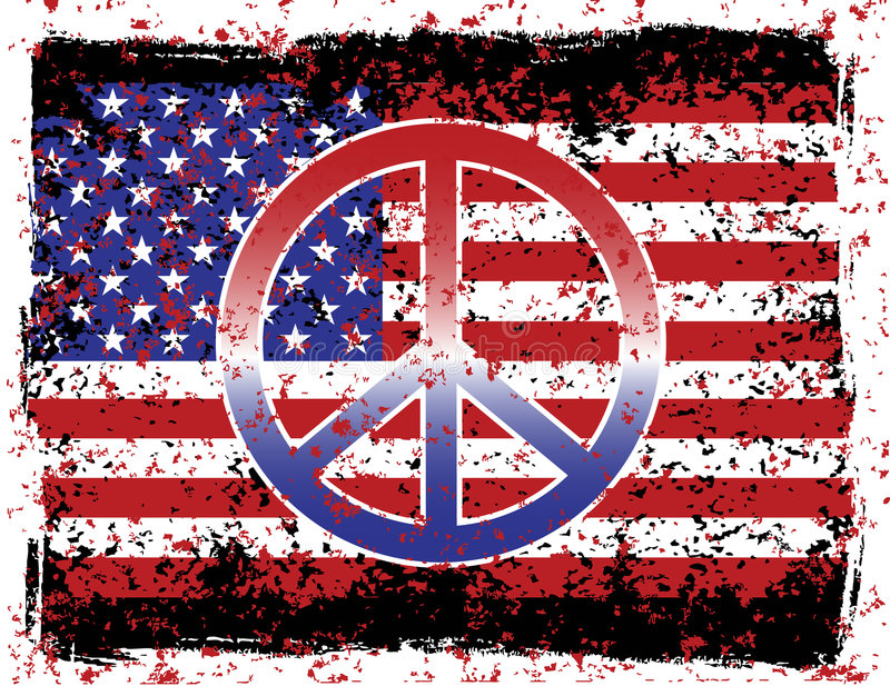 American Peace. An illustration of the American flag and peace symbol with grunge effects. Elements are on separate layers for easy editing
