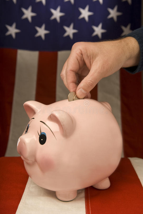 American Piggy Bank With Depositor stock image