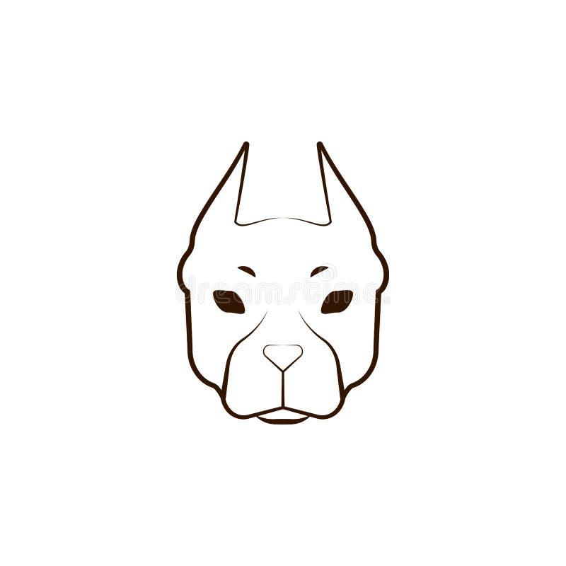 American Pit Bull Terrier-Ikone Eine der Hunderassen übergeben Ikone des abgehobenen Betrages stock abbildung