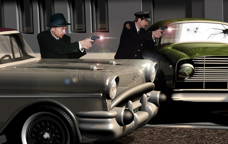 American police 60's. Image representing a gunfight in a street in the sixties with a plain-clothes policeman and a police agent in action, protected by two old stock illustration