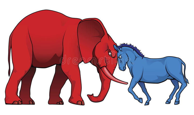 American political parties stand-off vector illustration
