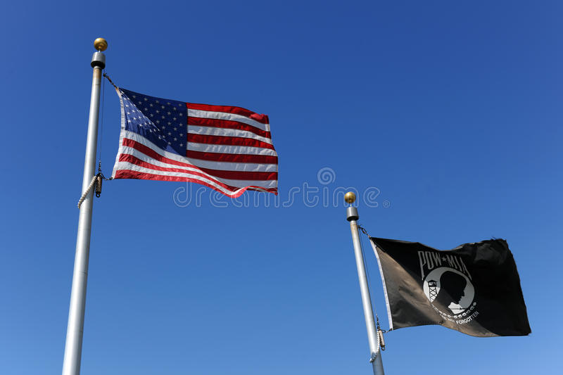 Download American and POW/MIA Flags stock photo. Image of action - 16425894