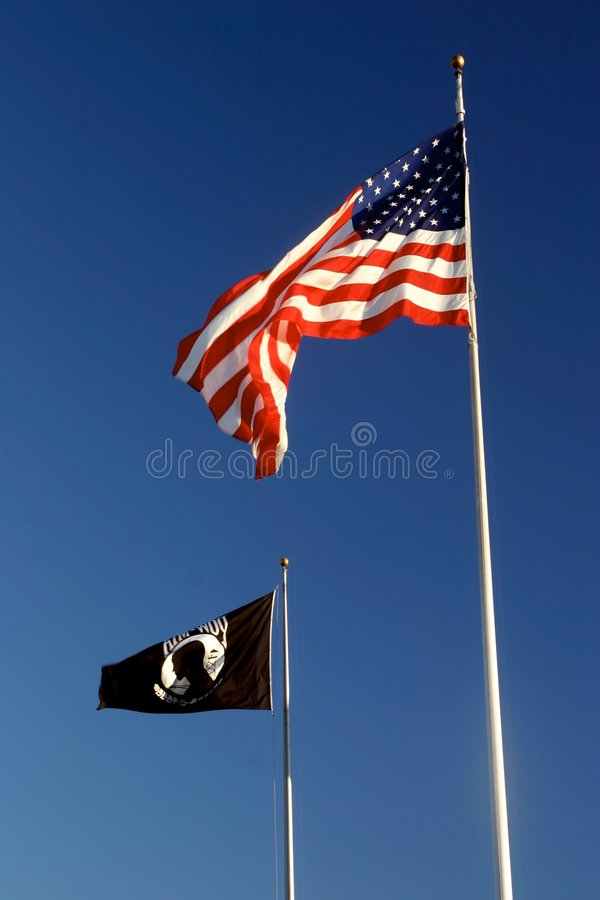 American and POW-MIA flags royalty free stock image
