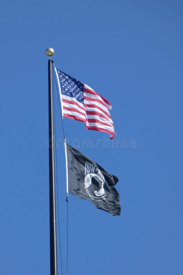 American and POW-MIA Flags stock images