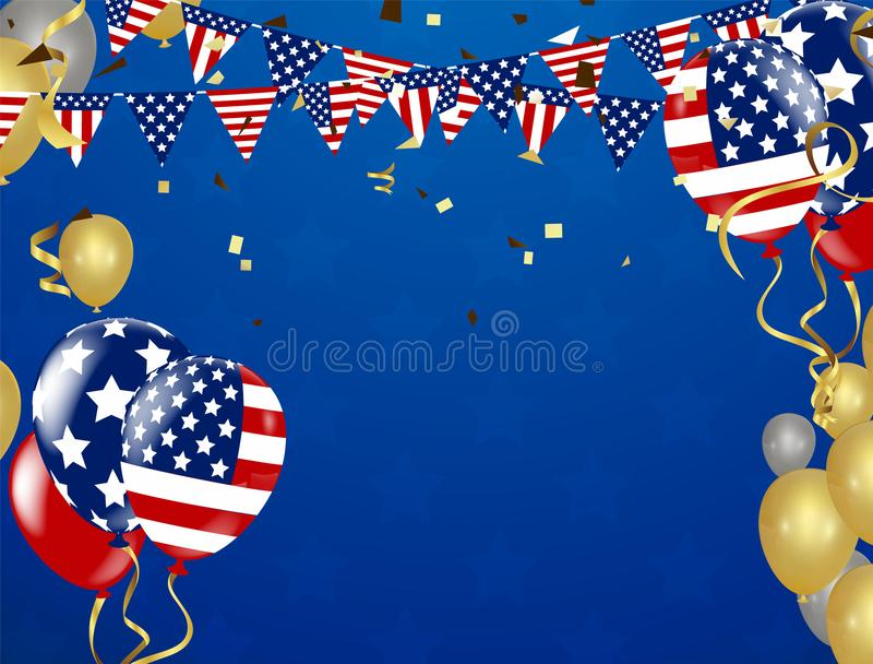 American President Day background of stars flying. Holiday confetti in US flag colors for President Day stock illustration
