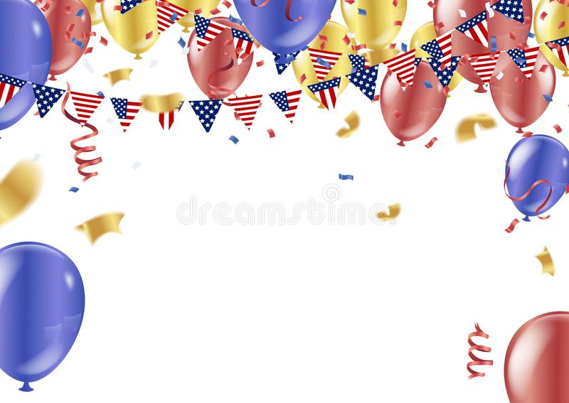 American President Day background of stars flying. Holiday confetti in US flag colors for President Day royalty free illustration