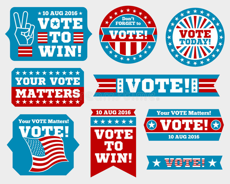 American presidential election 2016 badges and vote labels. Badges and signs for presidential election. Symbols of USA president election. Vector illustration royalty free illustration