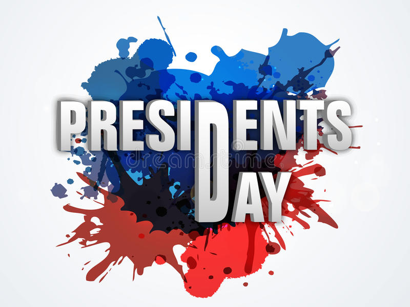 American Presidents Day celebration with 3D text. stock illustration