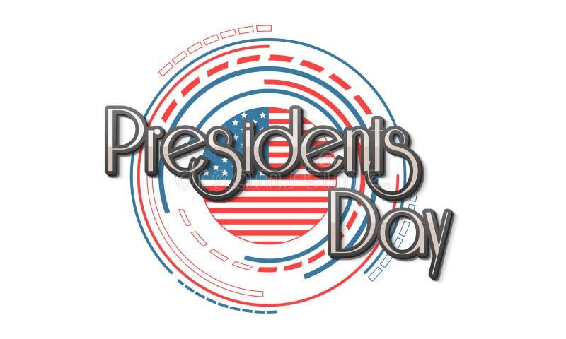 American Presidents Day celebration with stylish flag. stock illustration