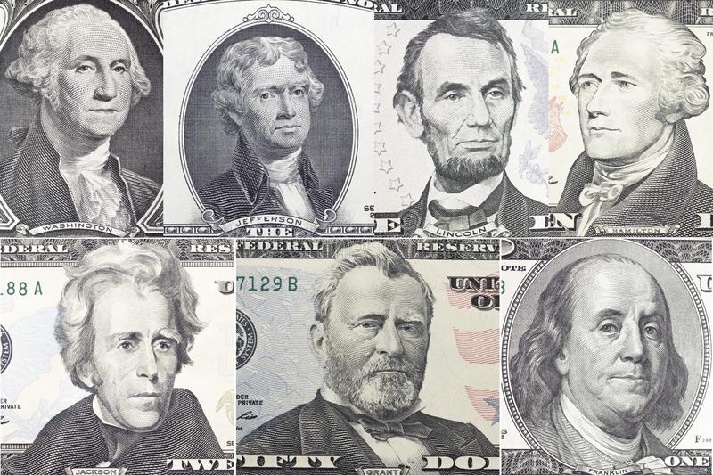 American presidents set portrait on dollar bill royalty free stock image