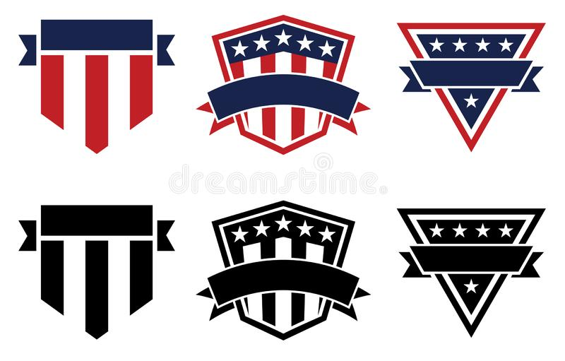 American Pride Patriotic Stars and Stripes Logos, Red White, Blue and Black, Isolated Vector Illustration stock photography