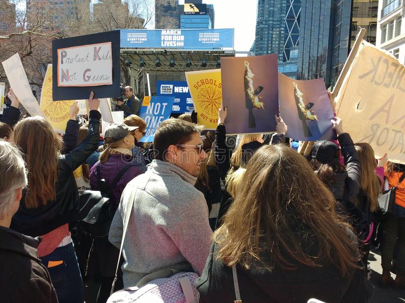 American Protest Crowd, March for Our Lives, Against Gun Violence, NYC, NY, USA stock photo