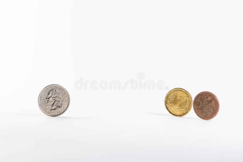 American Quarter Change Versuses Exchanged Converted European Eu. Ro 25 Cent White Background stock photo