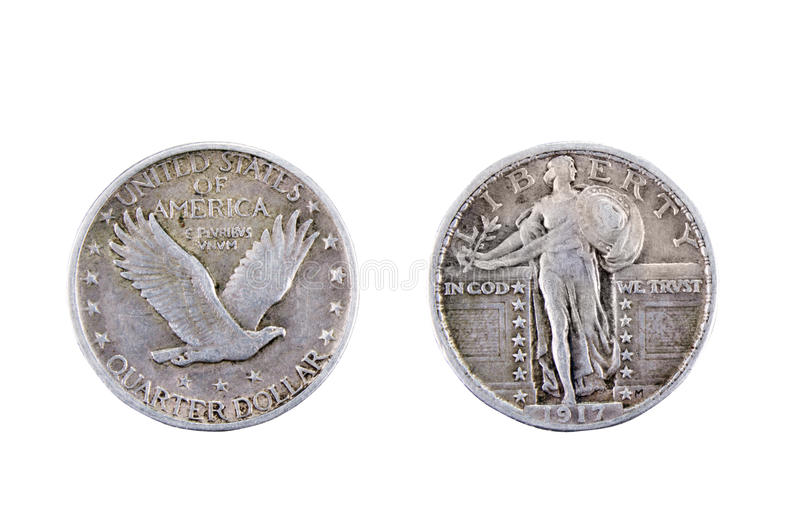 American quarter dollar. American silver quarter dollar coin from 1917 stock images