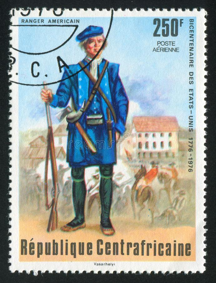 American ranger printed by Central African Republic. CENTRAL AFRICAN REPUBLIC - CIRCA 1976: stamp printed by Central African Republic, shows American ranger stock photos