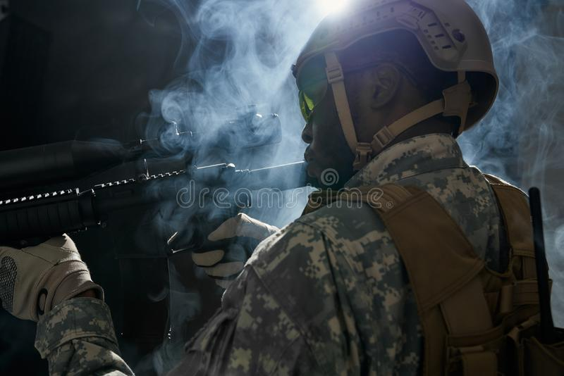 American ranker with armour preparing for night operation. royalty free stock image