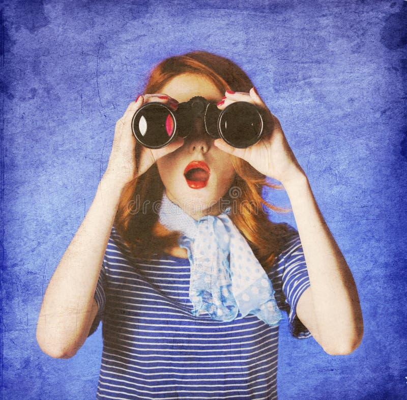 Free American Redhead Girl In Suglasses With Binocular Stock Photos - 25534563