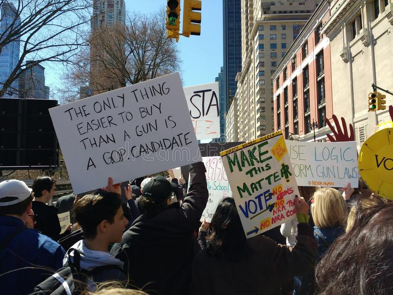 American Republican Party, GOP Candidate, Vote, March for Our Lives, Protest, NYC, NY, USA. Among the signs carried during the March for Our Lives in New York stock photo