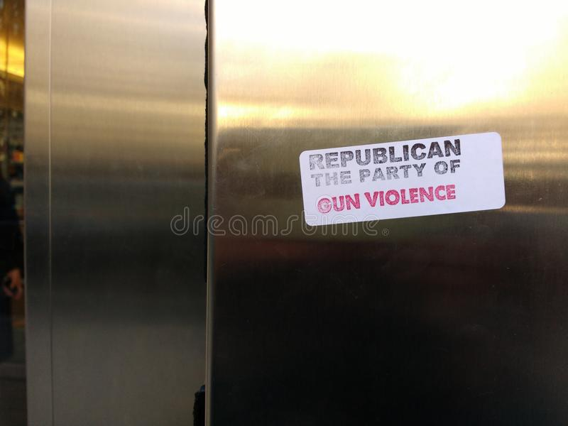 American Republican Party, Gun Violence, Vandalism, NYC, NY, USA royalty free stock photo