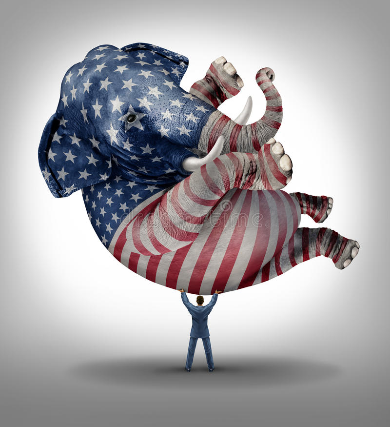 American Republican Vote. Election leadership symbol as an elephant with a painted flag of the United States with a person lifting up the animal as an icon of stock illustration