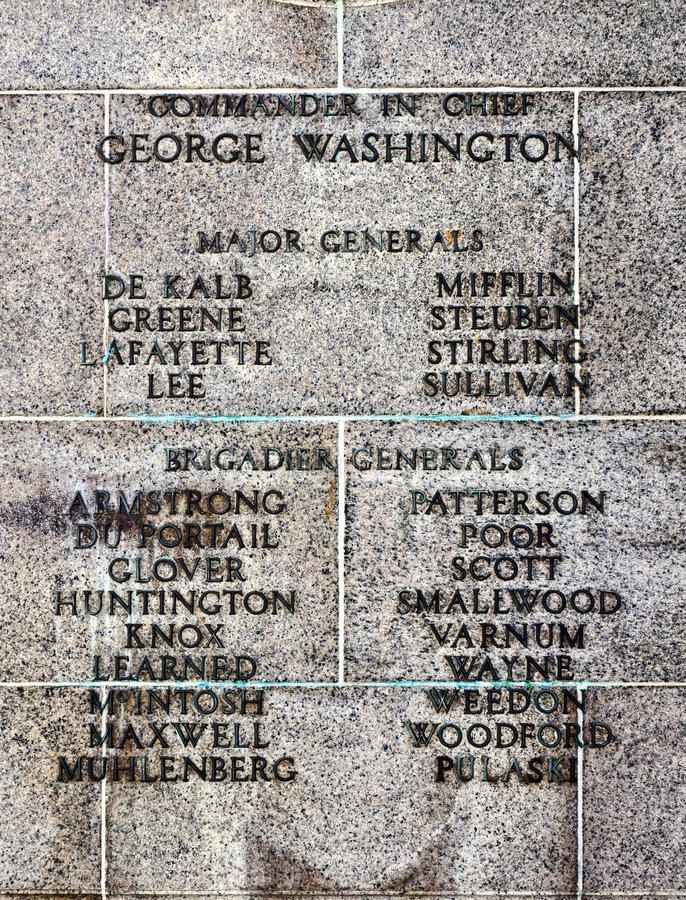 American Revolutionary War Commander and Generals. Military heroes of the American Revolutionary War continental army names list with commander in chief George stock photography