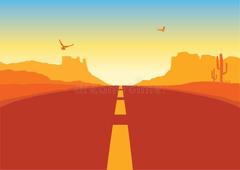 American road in desert landscape. Vector Arizona prairie background. American road in desert nature background. Vector Arizona prairie landscape with mountains vector illustration