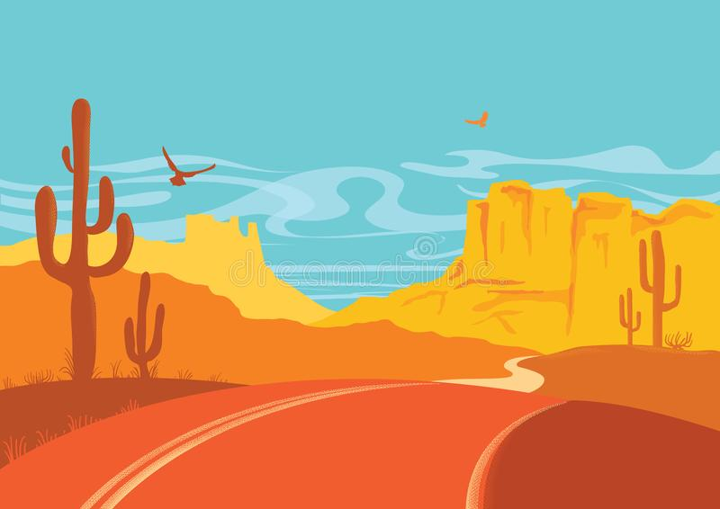 American road in desert in sun day with blue sky. Vector Arizona prairie landscape. With cactuses stock illustration