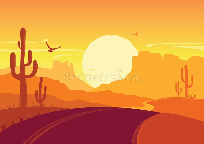 American road in desert. Vector Arizona prairie landscape. American road in desert nature background. Vector Arizona prairie landscape with cactuses vector illustration