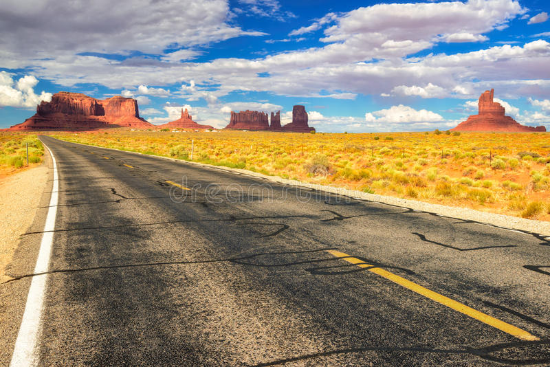 American road to Monument Valley, Arizona. American road with view to Monument Valley, Arizona - Utah royalty free stock photo