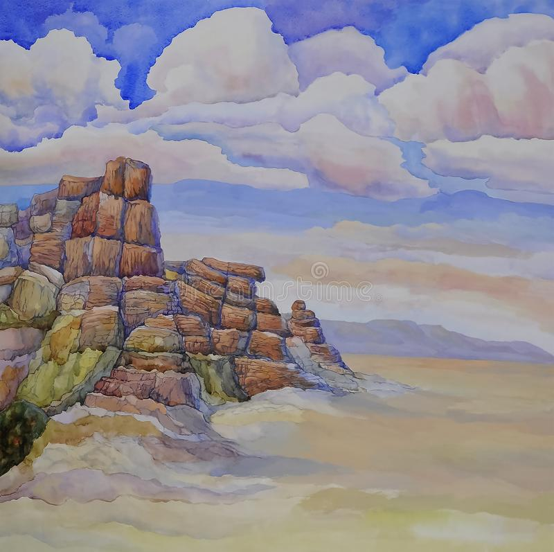American rock mountain canyon of red color, prairie landscape of. North America with blue sky and clouds. Watercolor illustration stock illustration