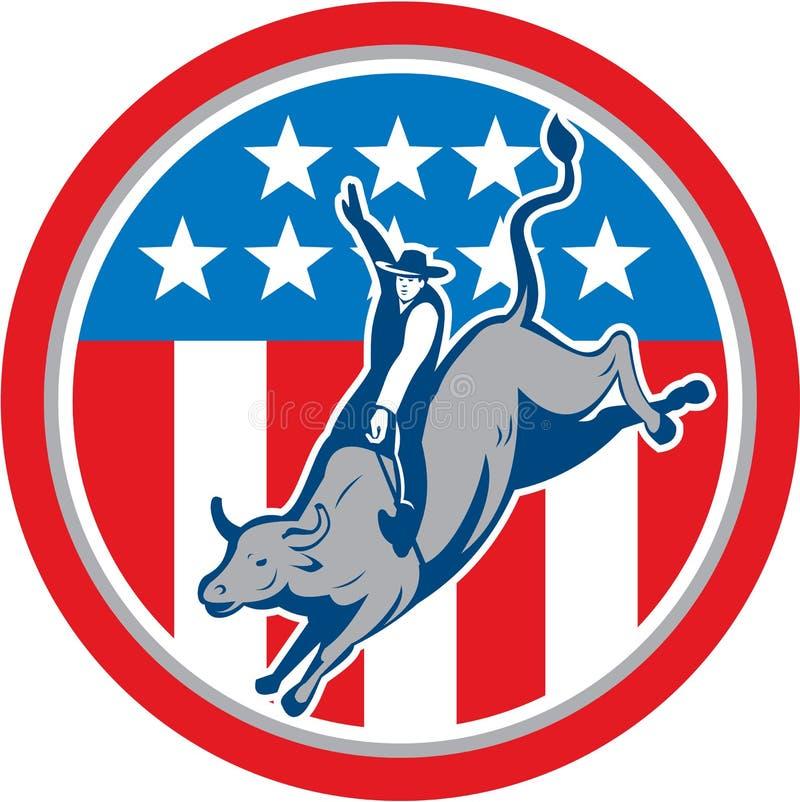 American Rodeo Bull Riding Circle Cartoon stock illustration