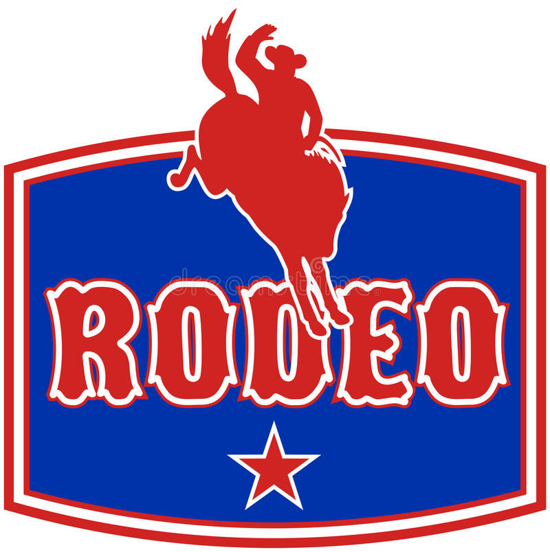 American Rodeo Cowboy horse stock illustration
