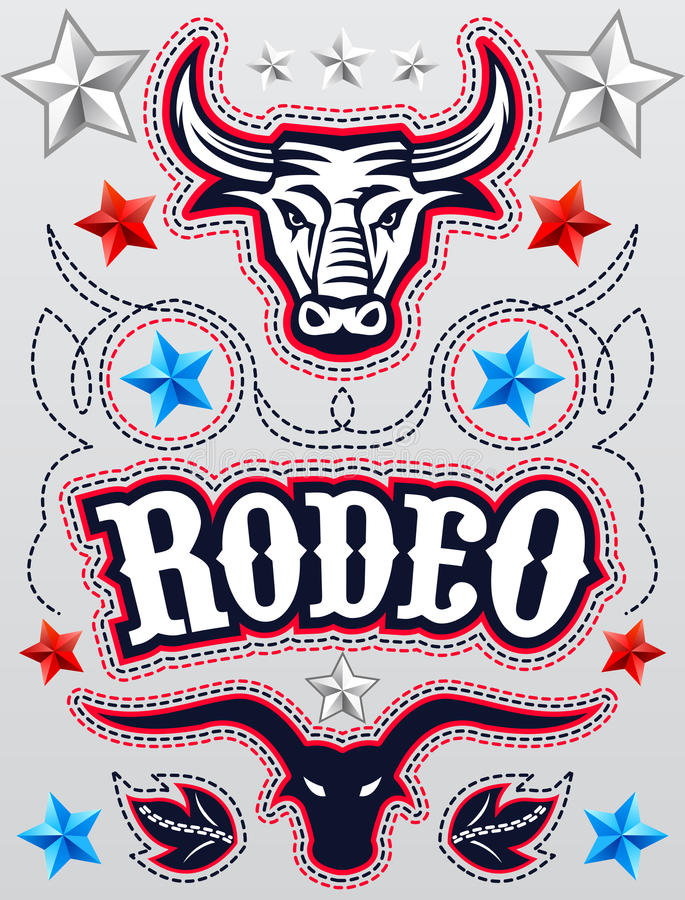 American Rodeo poster - card template - Vector set stock illustration