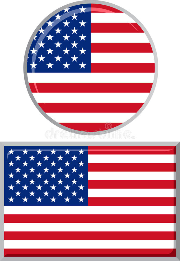 American round and square icon flag. Vector stock illustration