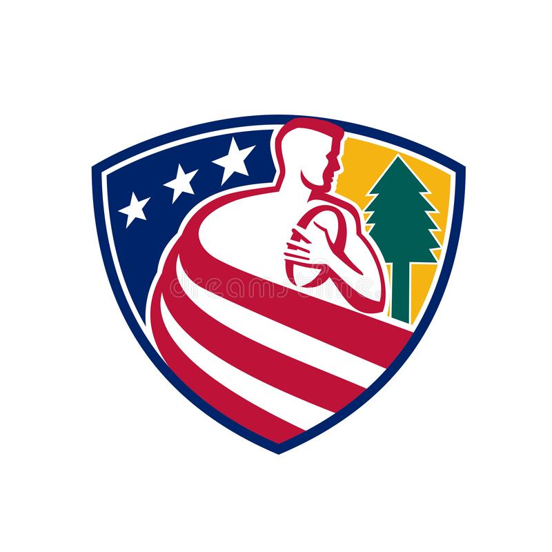 American Rugby Union Player Badge royalty free illustration