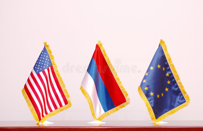 American and Russian flag royalty free stock image
