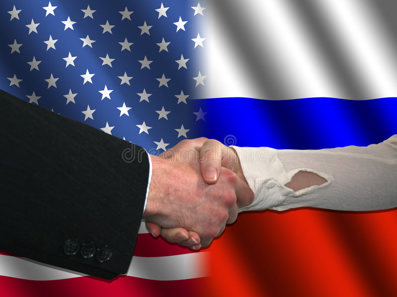 American Russian handshake stock illustration