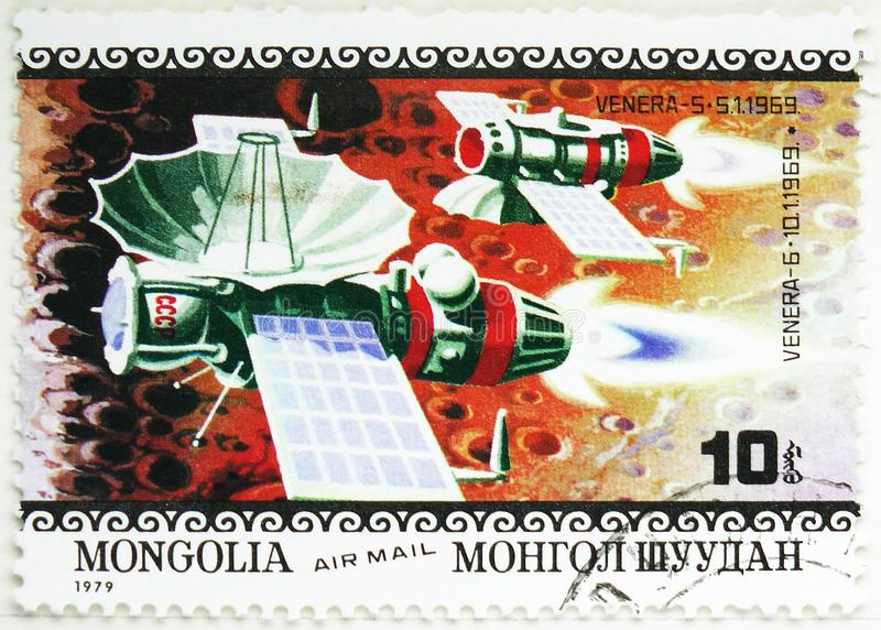 American and Russian Space Missions, Venera 5 and 6, Air Mail, Apollo 11 Moon Landing 10th Anniverary serie, circa 1979. MOSCOW, RUSSIA - AUGUST 4, 2019: Postage royalty free stock photo