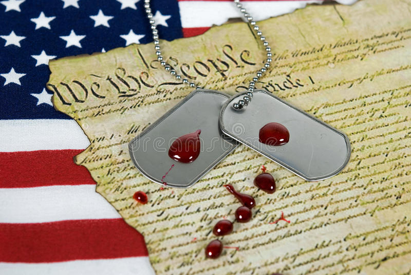 Download Military Dog Tags On Flag With Blood Stock Photo - Image: 18279252