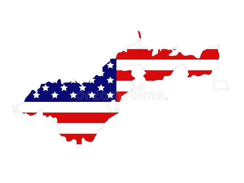 American Samoa översikt med USA flaggan stock illustrationer