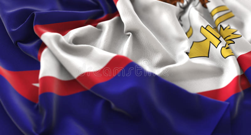 American Samoa Flag Ruffled Beautifully Waving Macro Close-Up Sh stock photos