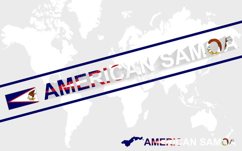 American Samoa map flag and text illustration royalty free illustration