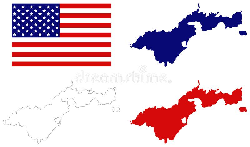 American Samoa map with USA flag - territory of the United States located in the South Pacific Ocean, southeast of Samoa stock illustration